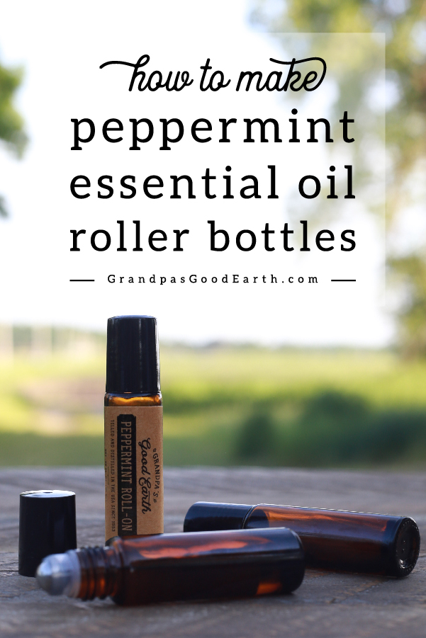 See how easy it is to make peppermint essential oil roller bottles! This makes using your essential oils safe and convenient. GrandpasGoodEarth.com